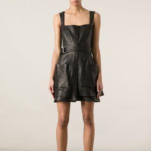 Alexander Mcqueen black cracked leather dress